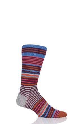 Mens 1 Pair Burlington Stripe Wool Socks