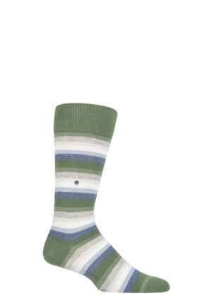 Mens 1 Pair Burlington Organic Cotton Striped Socks