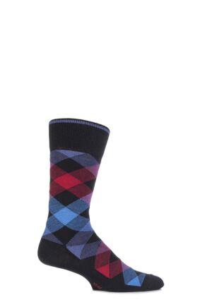 Mens 1 Pair Burlington Newcastle Virgin Wool Tartan Socks Black 40-46
