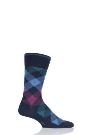 Mens 1 Pair Burlington Newcastle Virgin Wool Tartan Socks Navy 40-46