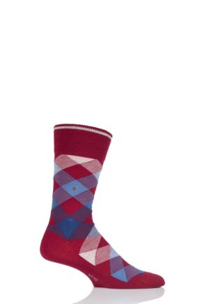 Mens 1 Pair Burlington Newcastle Virgin Wool Tartan Socks Red 40-46