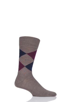 Mens 1 Pair Burlington Edinburgh Virgin Wool Argyle Socks Brown 40-46