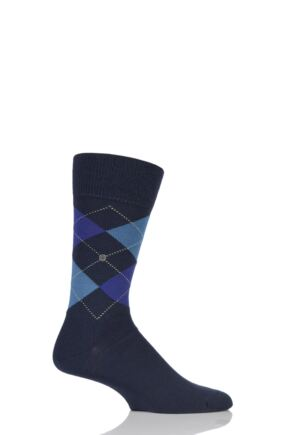 Mens 1 Pair Burlington Edinburgh Virgin Wool Argyle Socks Blues 40-46