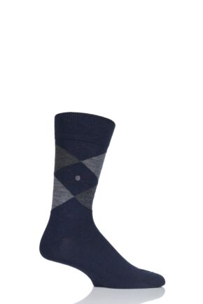 Mens 1 Pair Burlington Edinburgh Virgin Wool Argyle Socks
