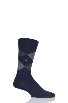 Mens 1 Pair Burlington Edinburgh Virgin Wool Argyle Socks Navy 40-46