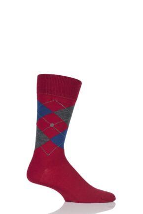 Mens 1 Pair Burlington Edinburgh Virgin Wool Argyle Socks Red 40-46