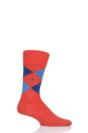 Mens 1 Pair Burlington Edinburgh Virgin Wool Argyle Socks Orange 6.5-11 Mens