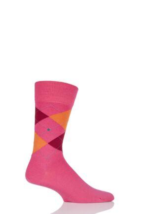 Mens 1 Pair Burlington Edinburgh Virgin Wool Argyle Socks Bright Pink 40-46