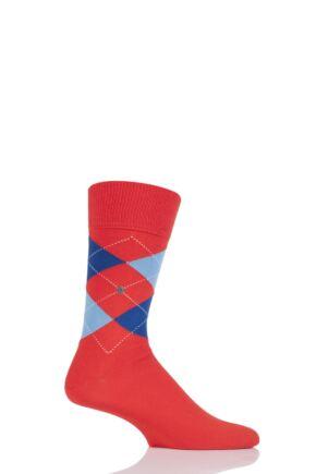 Mens 1 Pair Burlington Edinburgh Virgin Wool Argyle Socks