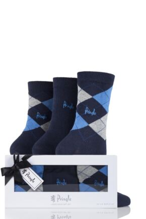 Ladies 3 Pair Pringle Gift Boxed Louise Plain and Argyle Cotton Socks