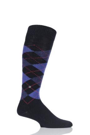 Mens 1 Pair Burlington Preston Soft Acrylic Knee High Socks Black / Purple 40-46