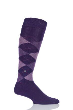 Mens 1 Pair Burlington Preston Soft Acrylic Knee High Socks English Purple 40-46