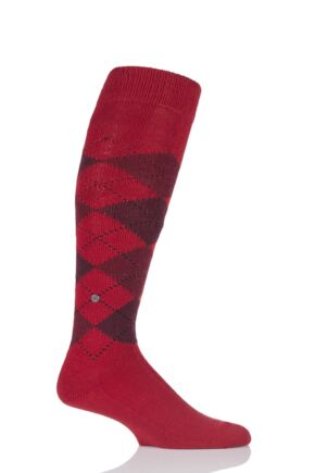 Mens 1 Pair Burlington Preston Soft Acrylic Knee High Socks Red 40-46