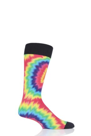 Mens 1 Pair Burlington Hippie Guy Tie Dye Cotton Socks