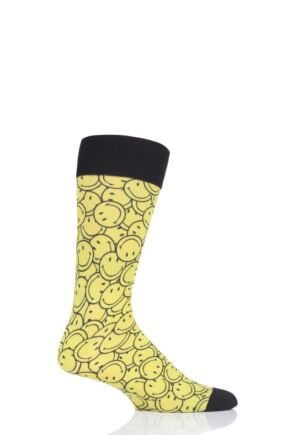 Mens 1 Pair Burlington Smiley Print Cotton Socks