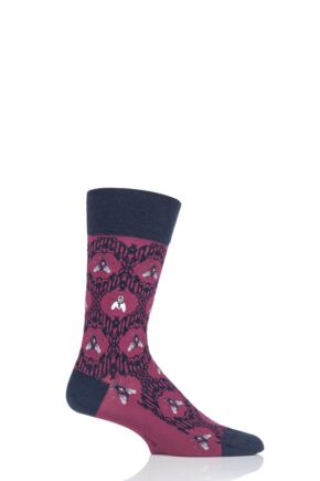 Mens 1 Pair Burlington The Fly Baroque Cotton Socks