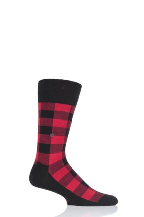 Mens 1 Pair Burlington Lumberjack Check Wool Blend Socks