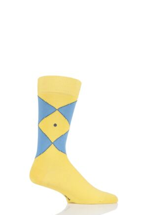 Mens 1 Pair Burlington Organic Cotton Argyle Socks Yellow 6.5-11 Mens