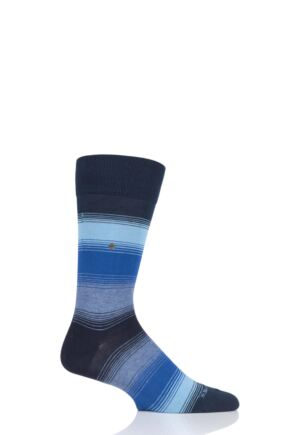Mens 1 Pair Burlington Ombre Stripe Cotton Socks