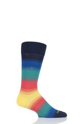 Mens 1 Pair Burlington Ombre Stripe Cotton Socks