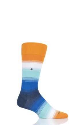 Mens 1 Pair Burlington Ombre Stripe Cotton Socks Orange 6.5-11 Mens