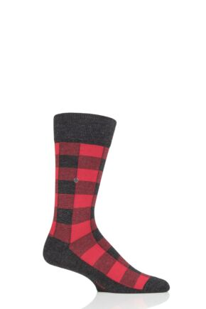 Mens 1 Pair Burlington Country Lumberjack Check Socks