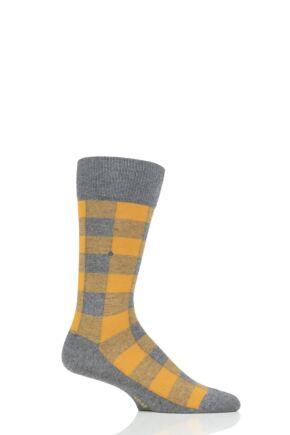 Mens 1 Pair Burlington Country Lumberjack Check Socks
