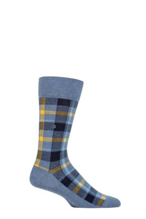 Mens 1 Pair Burlington Heritage Check Cotton Socks
