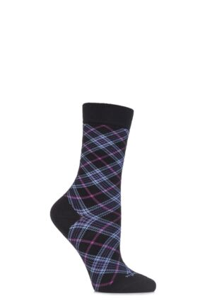 Ladies 1 Pair Burlington Shoreditch Cotton Tartan Socks