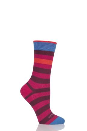 Ladies 1 Pair Burlington Selsey Mixed Striped Cotton Socks Red 36-41