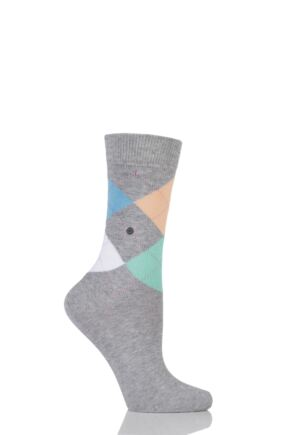 Ladies 1 Pair Burlington Queen 4 Way Argyle Cotton Socks Grey 36-41