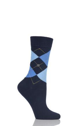 b42c0bac6 Ladies 1 Pair Burlington Queen Argyle Cotton Socks. Black