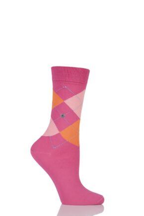 Ladies 1 Pair Burlington Queen Argyle Cotton Socks Pink / Orange 36-41