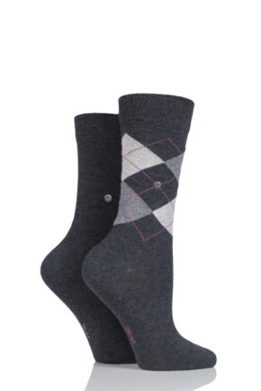 Ladies 2 Pair Burlington Everyday Mix Plain and Argyle Cotton Socks
