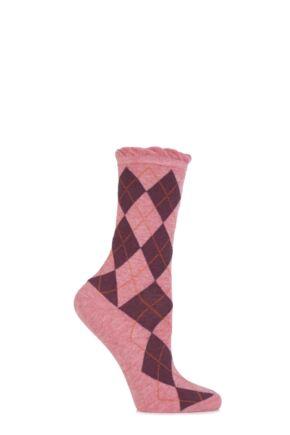 Ladies 1 Pair Burlington Ladywell Diamond Socks Pink 36-41