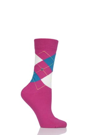 Ladies 1 Pair Burlington Queen Argyle Cotton Socks