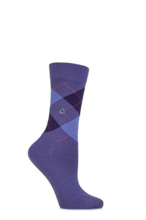 Ladies 1 Pair Burlington Marylebone Argyle Wool Socks Purple 36-41
