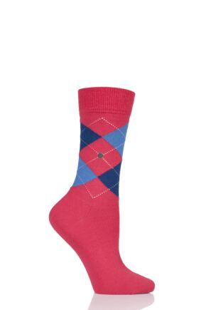 Ladies 1 Pair Burlington Marylebone Argyle Wool Socks Bright Pink 3.5-7 Ladies