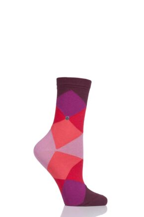 Ladies 1 Pair Burlington Bonnie Cotton All Over Blend Argyle Socks Red 2.5-6.5