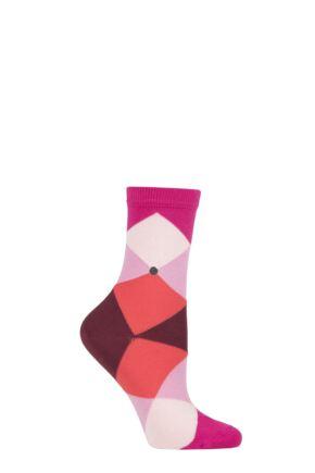 Ladies 1 Pair Burlington Bonnie Cotton All Over Blend Argyle Socks