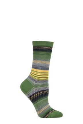Ladies 1 Pair Burlington Stripe Cotton Socks Green 3.5-7 Ladies