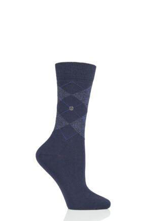 Ladies 1 Pair Burlington Marylebone Lurex Virgin Wool Socks