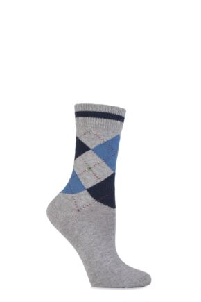 Ladies 1 Pair Burlington Scarborough Cotton Argyle Socks Light Grey 36-41