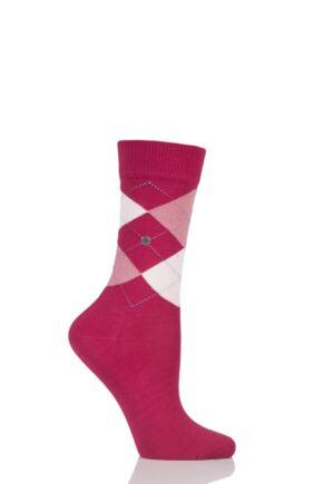 Ladies 1 Pair Burlington Covent Garden Cotton Argyle Socks Pink 36-41