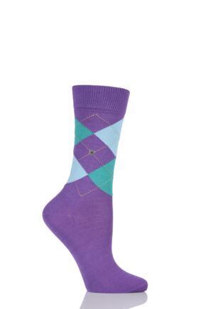 Ladies 1 Pair Burlington Covent Garden Cotton Argyle Socks Purple 36-41