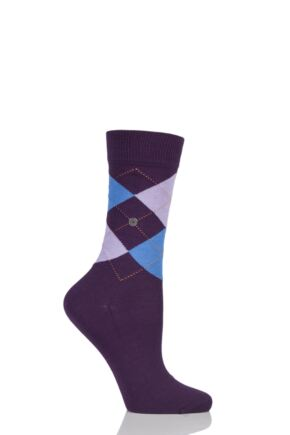 Ladies 1 Pair Burlington Covent Garden Cotton Argyle Socks Dark Purple 36-41