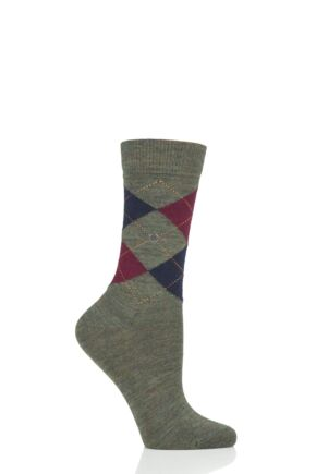 Ladies 1 Pair Burlington Marylebone Melange Virgin Wool Socks Green 3.5-7.5 Ladies