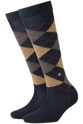 Ladies 1 Pair Burlington Whitby Extra Soft Argyle Knee High Socks