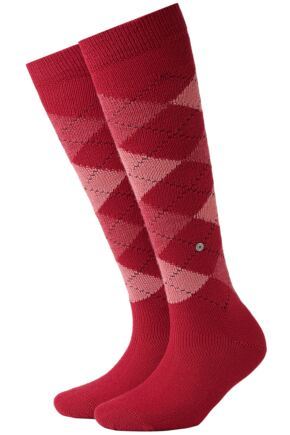 Ladies 1 Pair Burlington Whitby Extra Soft Argyle Knee High Socks Reds 36-41