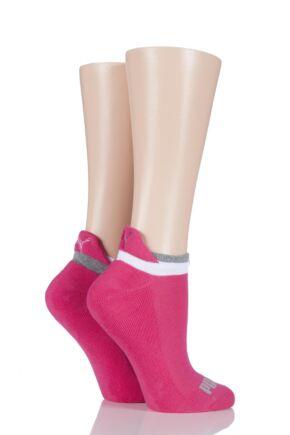Ladies 2 Pair Puma Jet Cat Sneaker Running Socks Beetroot 2.5-5